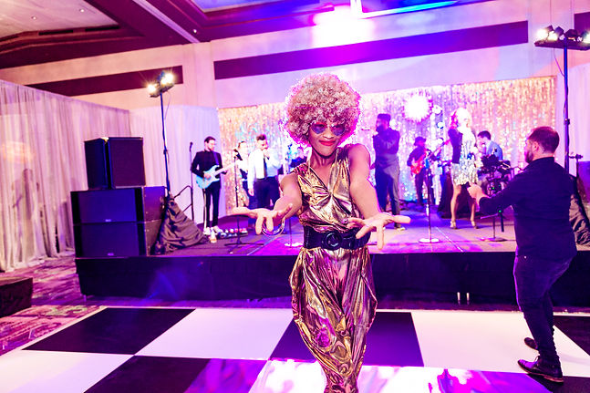 CIRCUS PICNIC 1970's Disco Hype Girl and Entertainer, Lively Music Performance at Austin Corporate Party