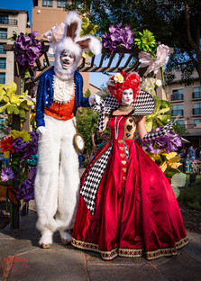 White Rabbit and the Queen,CIRCUS PICNIC Wonderland Theme Party Entertainers, Entertainment, Performers, Artist, Characters, Art Expression at a Corporate Event in Texas