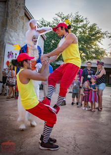Tweedle Dee and Tweedle Dum Partner Acrobats at Wonderland Theme Corporate Party, Circus Entertainment, Circus Art, CIRCUS PICNIC Theme Party Idea, Texas