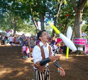 Stunning Jugglers, CIRCUS PICNIC Performers, Steampunk Performers Austin Texas at ART OUTSIDE, CIRCUS PICNIC Themed Party Idea