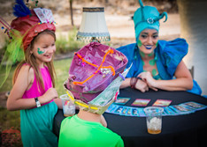 Fun Time with Fortune Teller, Wonderland Fortune Telling Activity at CIRCUS PICNIC Wonderland Themed Corporate Party. Texas
