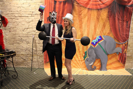 Maskman and Strong Guest, Elephant Art Photo Booth, CIRCUS PICNIC Artistic Party Decor, Texas Theme Party Ideas