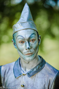 The Tin man from the Wizard of Oz is looking at the camera
