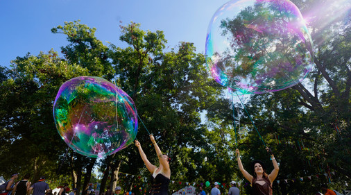 Circus Rainbow Bubbles, Awesome Bubble Making at Steampunk Circus Themed Party, Entertainers, Performers, Austin Texas