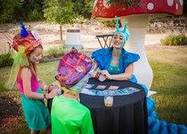 Blue Fortune Teller and Kids, Know your Fortune at Wonderland Extraordinary Party Experience, Austin Texas