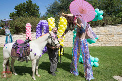 Unicorn and the Stilt Walker, Glee Magical Experience, Fantasy Entertainers, Entertainment, CIRCUS PICNIC Theme Party Ideas Texas