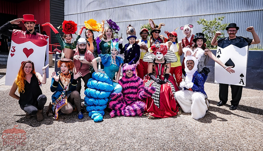 Alice and wonderland cast for lie events, company parties, puzzle rooms, and immersive experiences in austin texas.