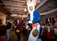 Wonderland White Rabbit at the Party, Spring Stilt Walker at CIRCUS PICNIC Spectacular Night, Themed Party Ideas Texas