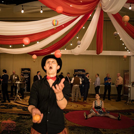 Juggler at Convention Party, Imaginarium Theme for UOP Honeywell Convention. Texas, CIRCUS PICNIC Vintage Carnival Themed Party