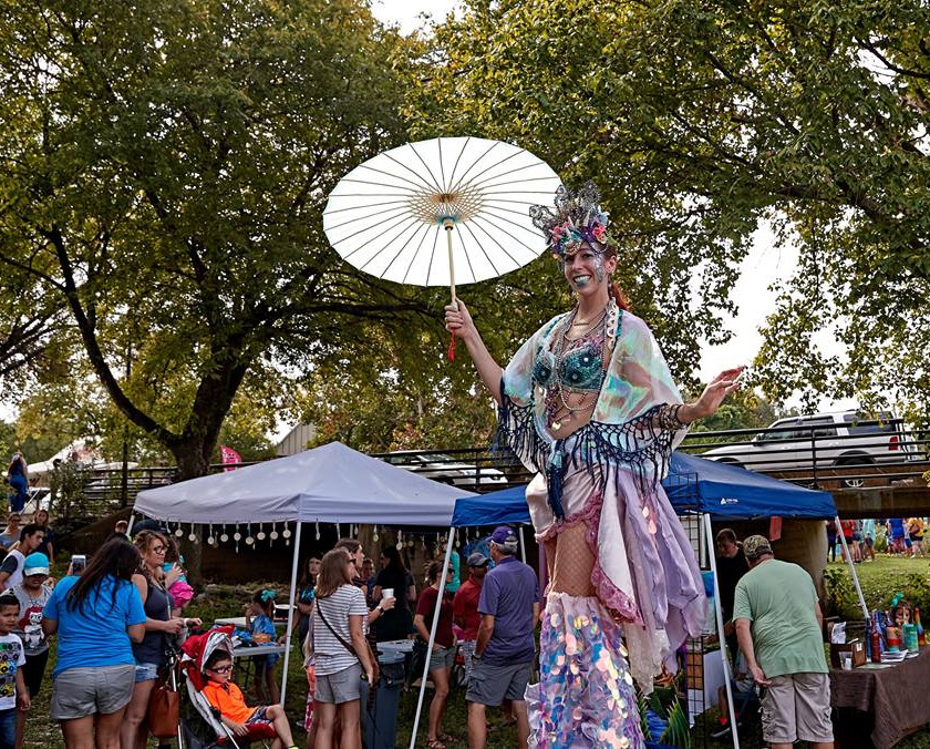 Stilt Walkers in the Party, Mermaid Themed Party Idea, CIRCUS PICNIC Entertainment Event Concept, Austin, Dallas, Houston, San Antonio Texas