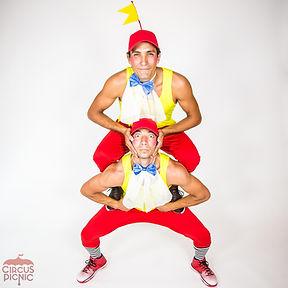 CIRCUS PICNIC Wonderland Entertainers, Tweedle Dee and Tweedle Dum Partner Acrobats for Hire