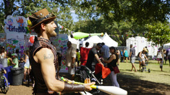 Circus Juggling Entertainment, Party Jugglers, Entertainers, Performers, Party Goers Magical Experience at Austin City Limits Steampunk Aeronauts Crash Land