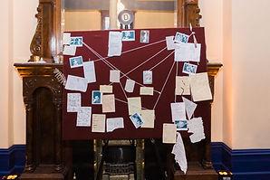 1920's Murder Mystery clue board, Murder Mystery Clue board, Murder Mystery Clue