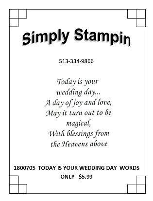 1800705  TODAY IS YOUR WEDDING DAY  WORDS ONLY