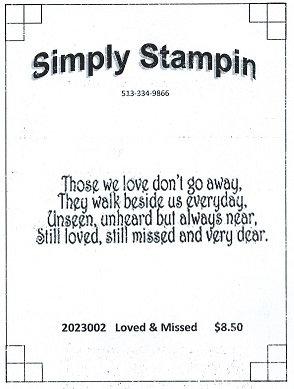 2023002   LOVED & MISSED