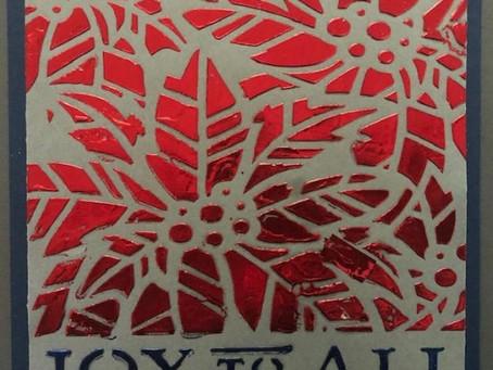 Poinsettia stencil and foil