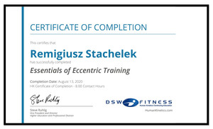 For my english speaking trainees. I have finished an online, examined course of Essentials of Eccentric Training. It will have helped in my everyday job to implement new workout techniques into your plans and will have created new enviroment for improvements on the way of your constant progress.