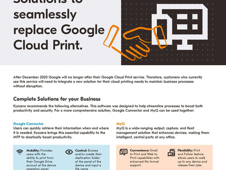 Life after Google Cloud Print! #kyoceradocumentsolutions