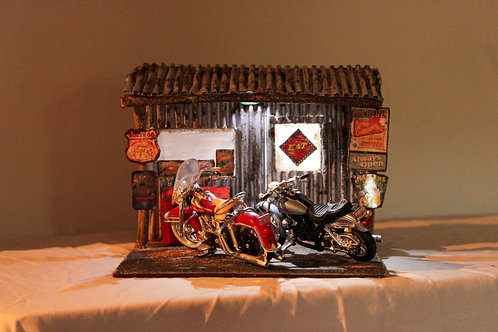 1:18 Harley Davidson Diorama - Stop On Route 66