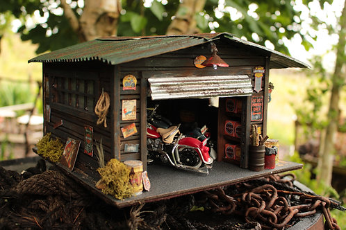 1:18 Harley Davidson Diorama - Garage On Route 66