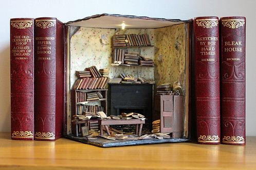 Bookend Diorama Bookshelf Art Abandoned Library