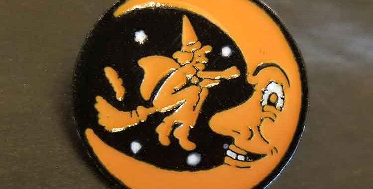 Vintage Halloween Moon Pin