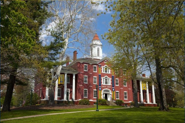 Bentley_Hall_spring_BicentennialBanners.
