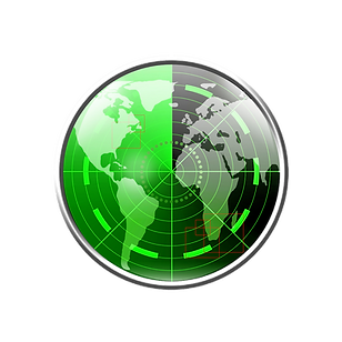 Global radar 25% transparent background.
