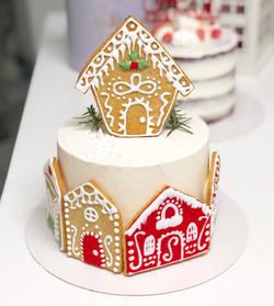 Tarta poblado navideño