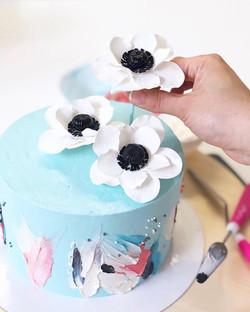 Tarta floral pinceladas