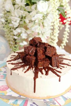 Tarta de brownie y vainilla