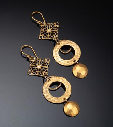 Vermeil and metal earrings