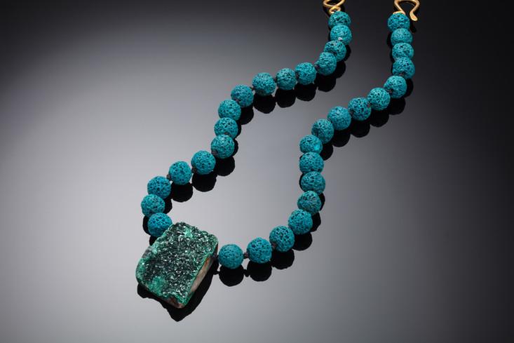 Druzy pendant and lava rock bead necklac