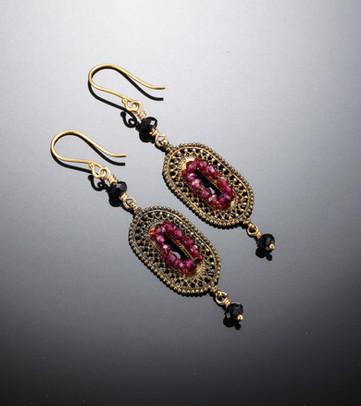 Vintage garnet and crystal earrings.jpg