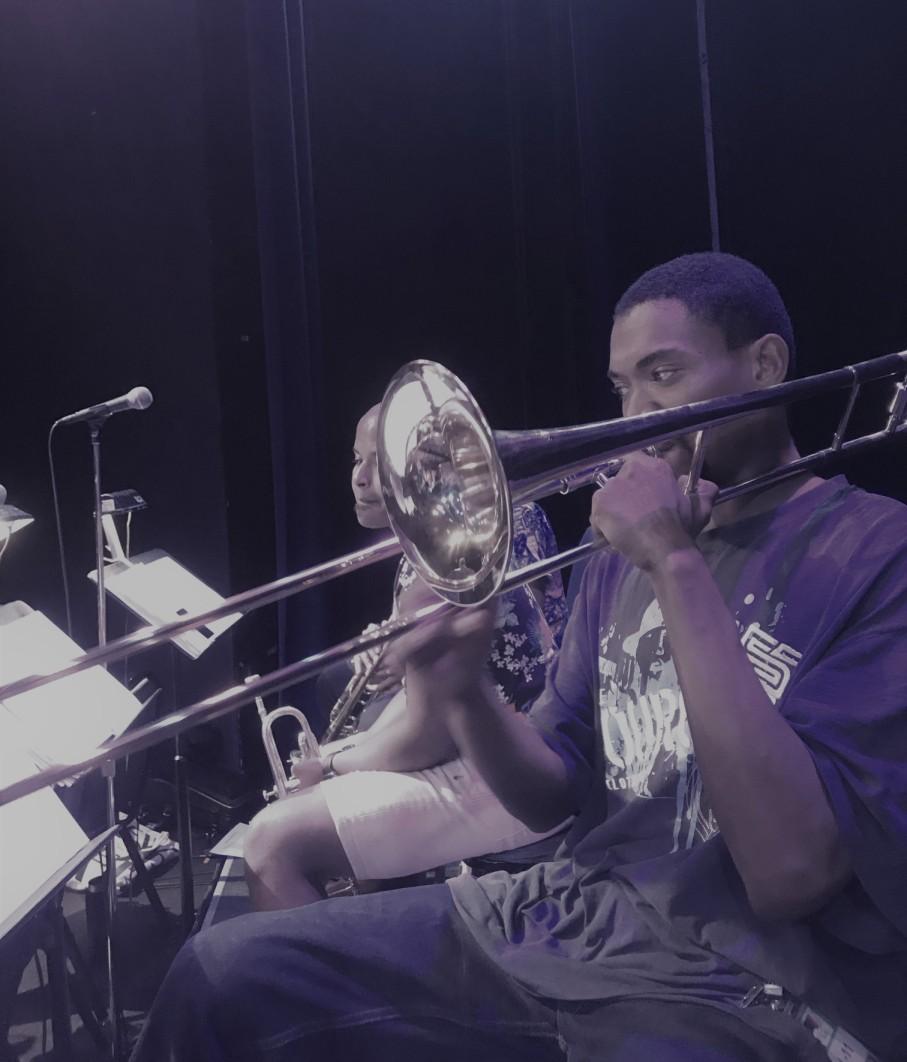 Corey Wilcox on trombone