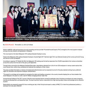 PwC emerges as leading employer among Malaysian graduates -  New Straits Times Online