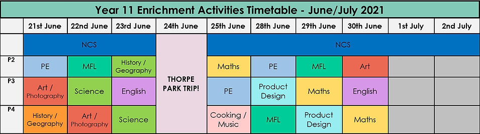 Year 11 Enrichment Activities Timetable