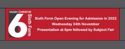 6th Form Open Evening Banner Nov 2021