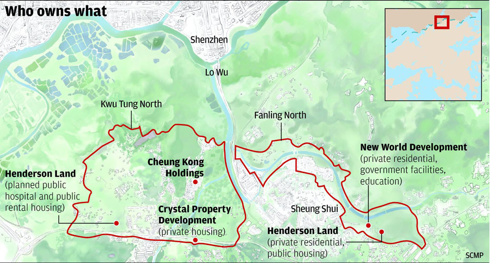 """SCMP graphic from the article """"New World, Henderson Land to be major winners"""