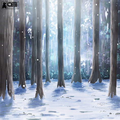 Snow Forest Background Painting