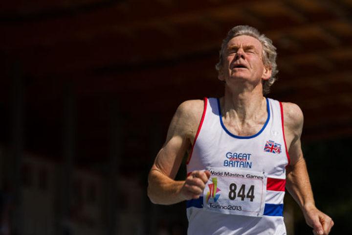 Older man winning athletics race Alex Rotas REACT study