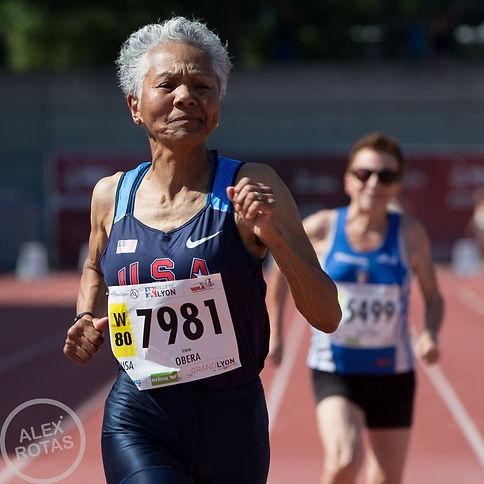 Older woman running Alex Rotas REACT study