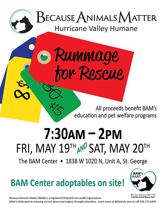 Rummage for Rescue event flier