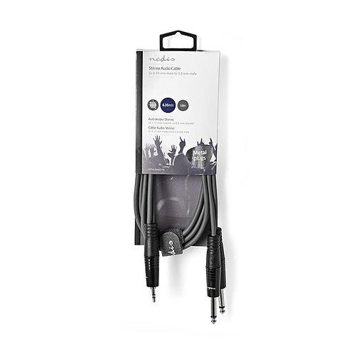 Stereo audiokabel | 2x 6,35 mm male - 3,5 mm male | 1,5 m