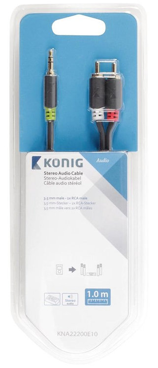 König 1 m, 3.5 mm male/2 x RCA male Antraciet