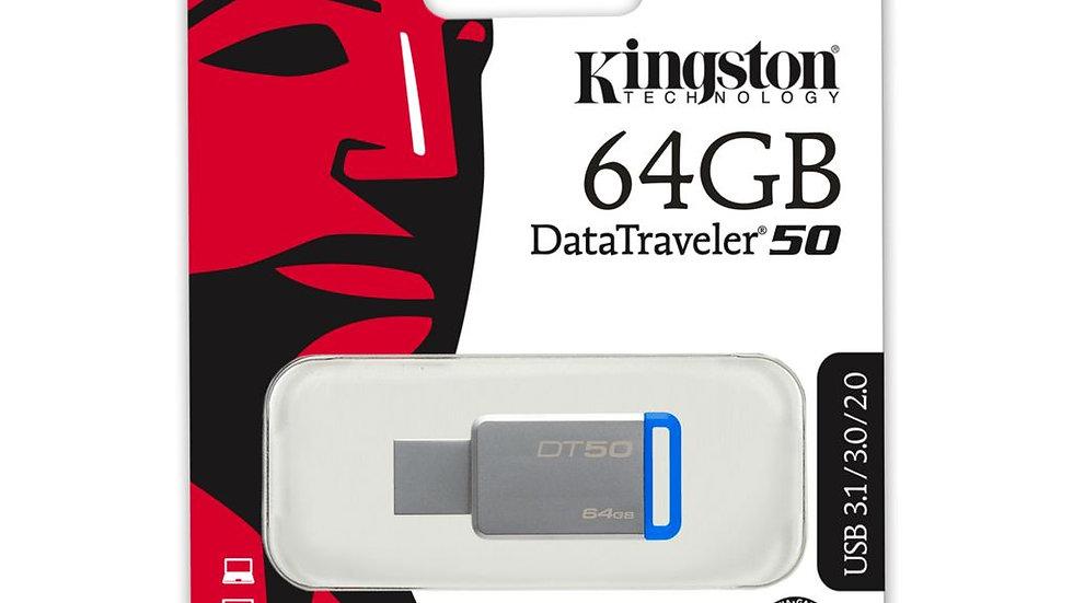 Kingston Technology DT 50 USB 3.1 / 3.0 Flashstation - 64 GB Blauw