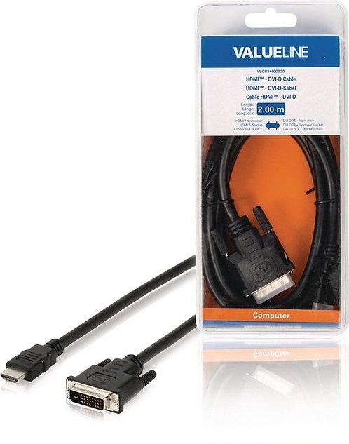 Valueline VLCB34800B20 video kabel adapter 2 m HDMI DVI-D Zwart