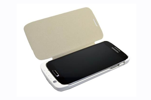 Power Pack Flip Case for Samsung i905 Galaxy S4 - White leather - 3200mAh