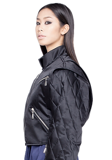 francisco rojas fashion designer, BA collection, Final Collection, Silk satin, bikers, zippered pockets, samuari, stand collar, integrated belts, buckles, Look 2