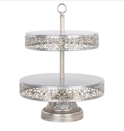 Antique Silver 2 Tier Stand